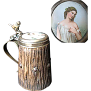 Antique Black Forest Tankard with Hand Painted Porcelain Portrait and Bronze Cat 1900 era