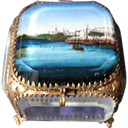 Antique French Souvenir Boats Jewelry Casket,  Eglomise 19th C