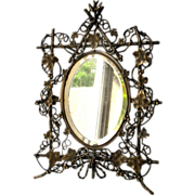 Large Antique Victorian Mirror Ornate Reticulated
