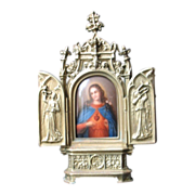 Antique French Victorian Triptych with a Hand Painted Miniature Porcelain 19th C