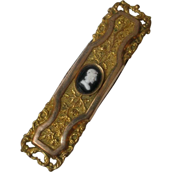 Antique French Victorian Belt Buckle with Cameo 19th C