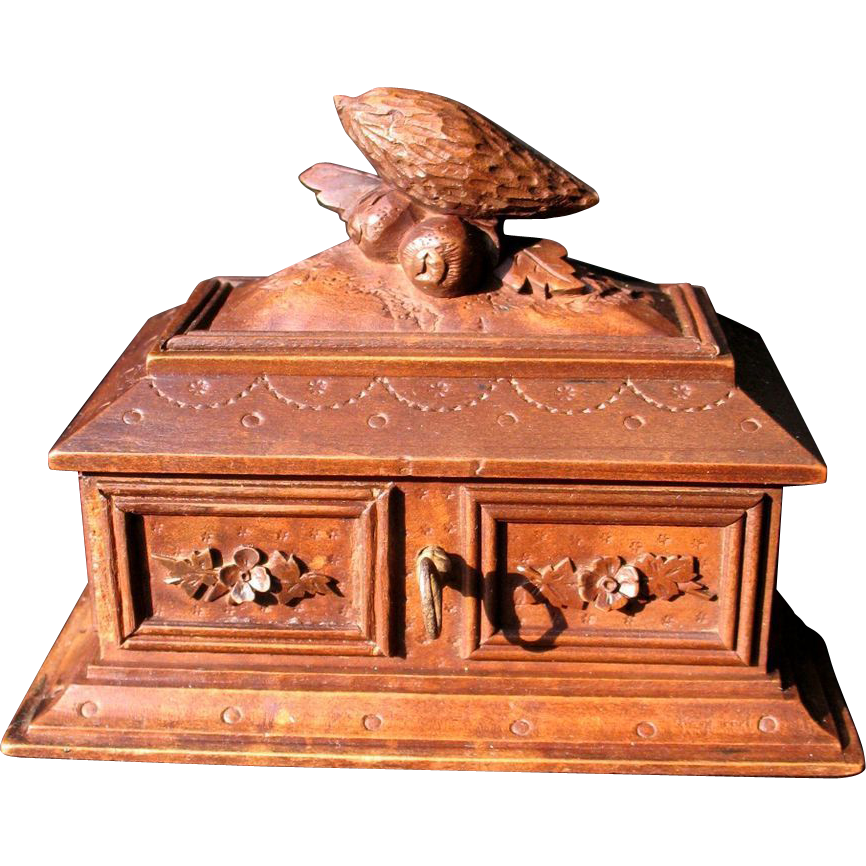 Antique Hand Carved Jewel Box Black Forest ca. 1880