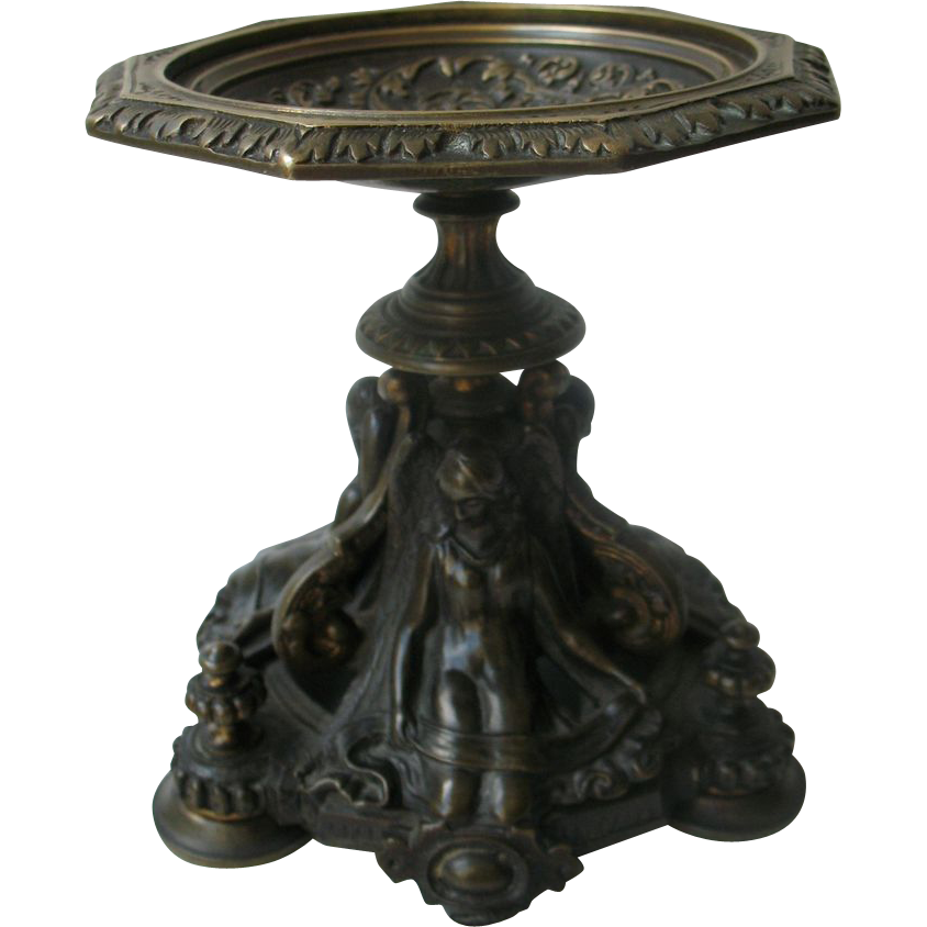Antique French Victorian Bronze Cup with Angels - Jewel Stand 19th C