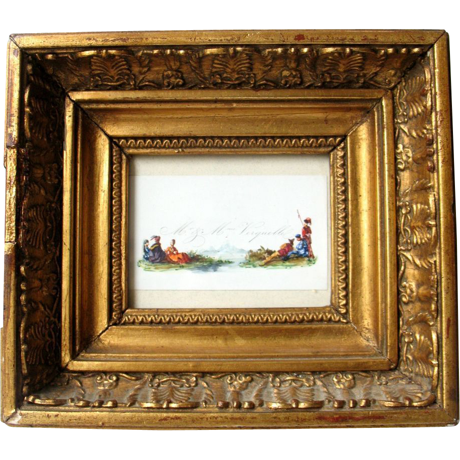 Antique French Watercolor Painting Miniature Fashion mid 19th Century
