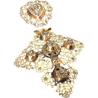 18th C French Georgian 18K Gold Filigree Cross with Rhinestones and its Brooch Circa 1750