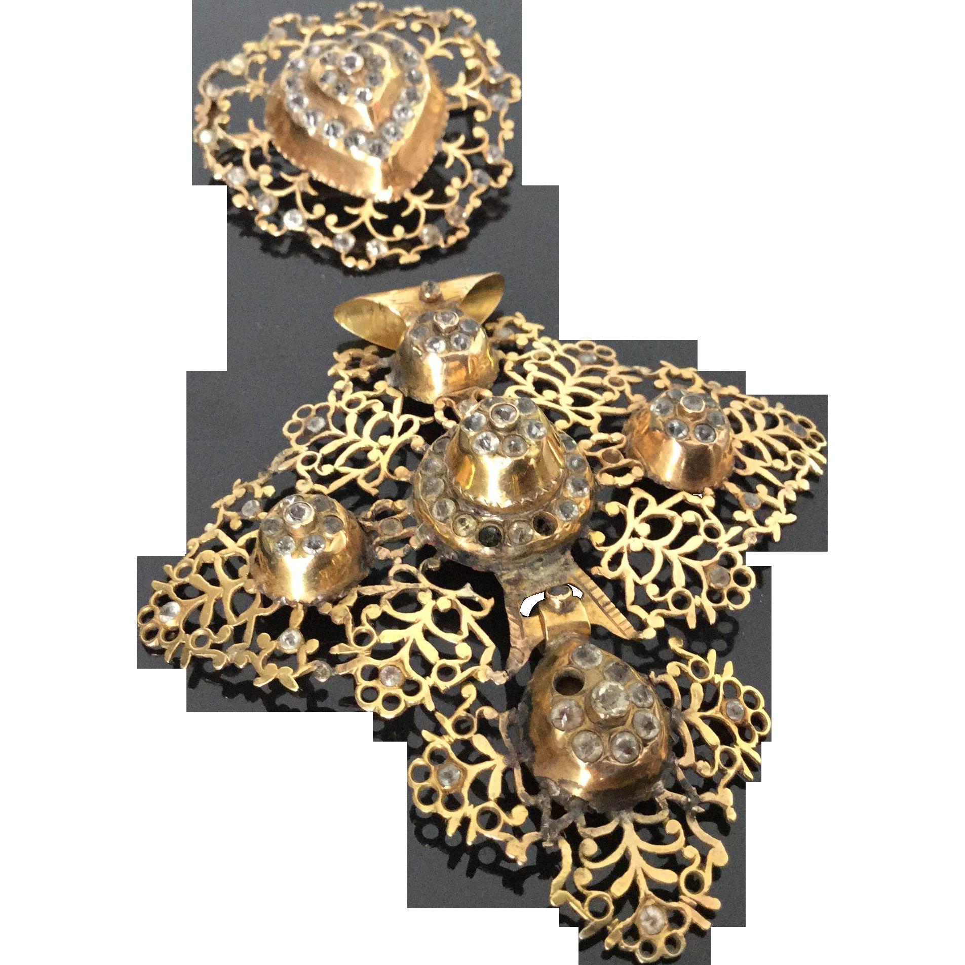 18th C French Georgian 18K Gold Filigree Cross with Rhinestones and its Brooch Circa 1750