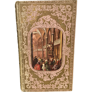 French Romantic Binding Embossed Book 1852 with Color Lithograph