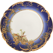 Antique French Porcelain Plate Théodore Haviland Limoges 1890 Luxurious Blue and Gold