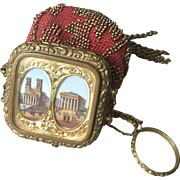 Antique c.1850 Paris Victorian Souvenir Chatelaine Bead Purse, Bag, Eglomise Grand Tour