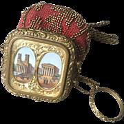 Antique c.1850 Paris Victorian Souvenir Chatelaine Bead Purse, Bag, Eglomise Grand Tour