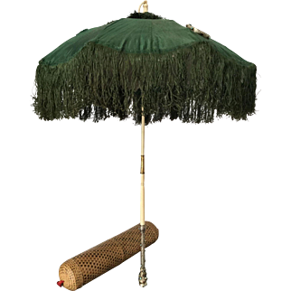 French Victorian Parasol 1860 Circa Museum Piece Silver Turquoises Ruby Garnets Green Silk With Its Box