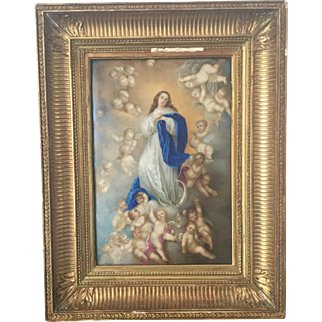 Antique French Big Porcelain Handpainting After Murillo Immaculate Conception Frame 19th C