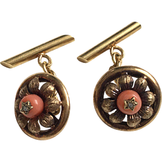 Victorian French 18K Gold Cufflinks with Coral 19thC