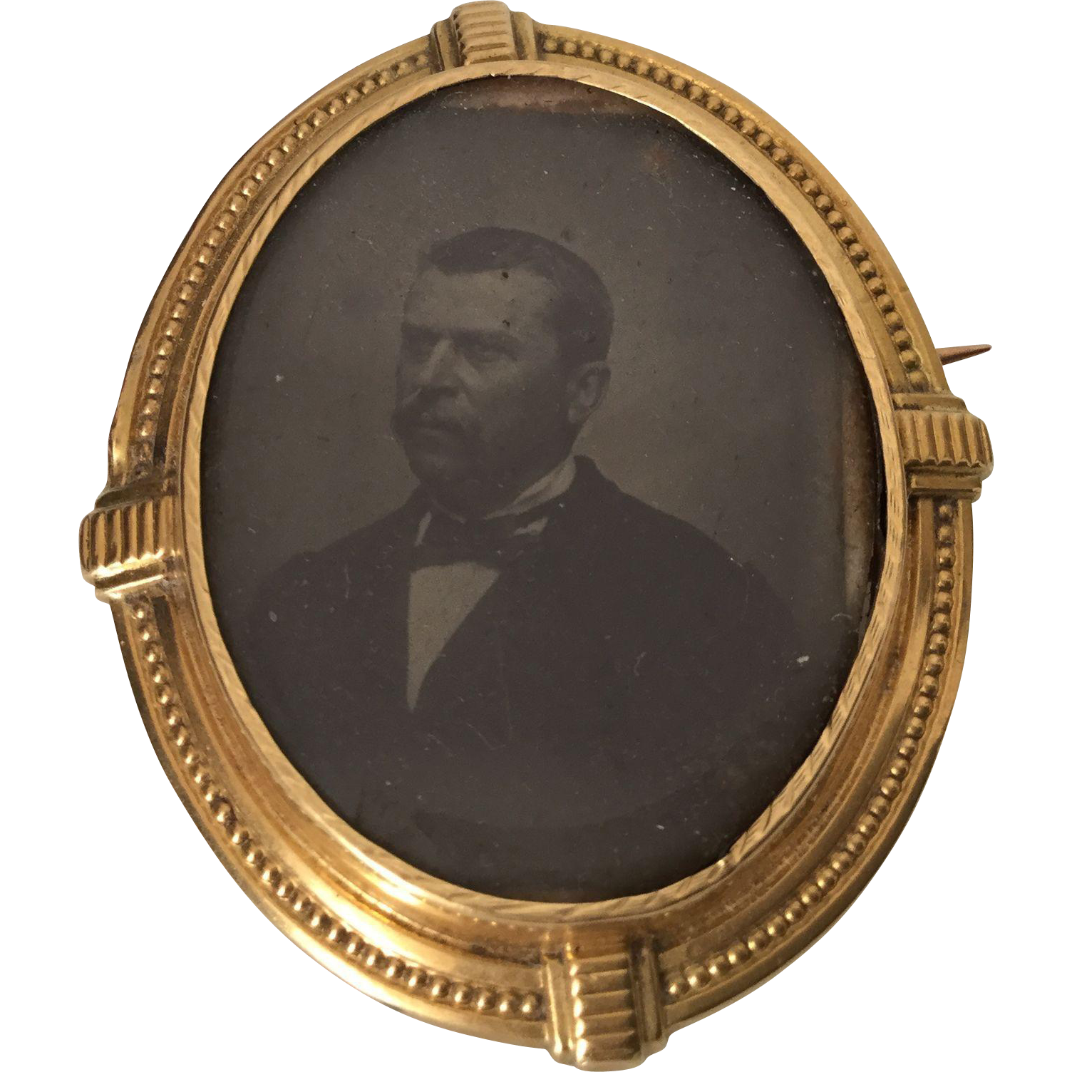French Victorian 18K Yellow Gold Brooch With Man Photo 19th Century circa Teddy Roosevelt ?