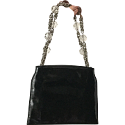Rare French Haute Couture Roger Vivier Paris Vintage Black Leather Handbag With Heavy Crystal Pearls 1950 circa