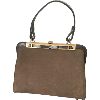 Rare Haute Couture LOEWE Paris Vintage Brown Nubuck Luxury Handbag 1950 circa