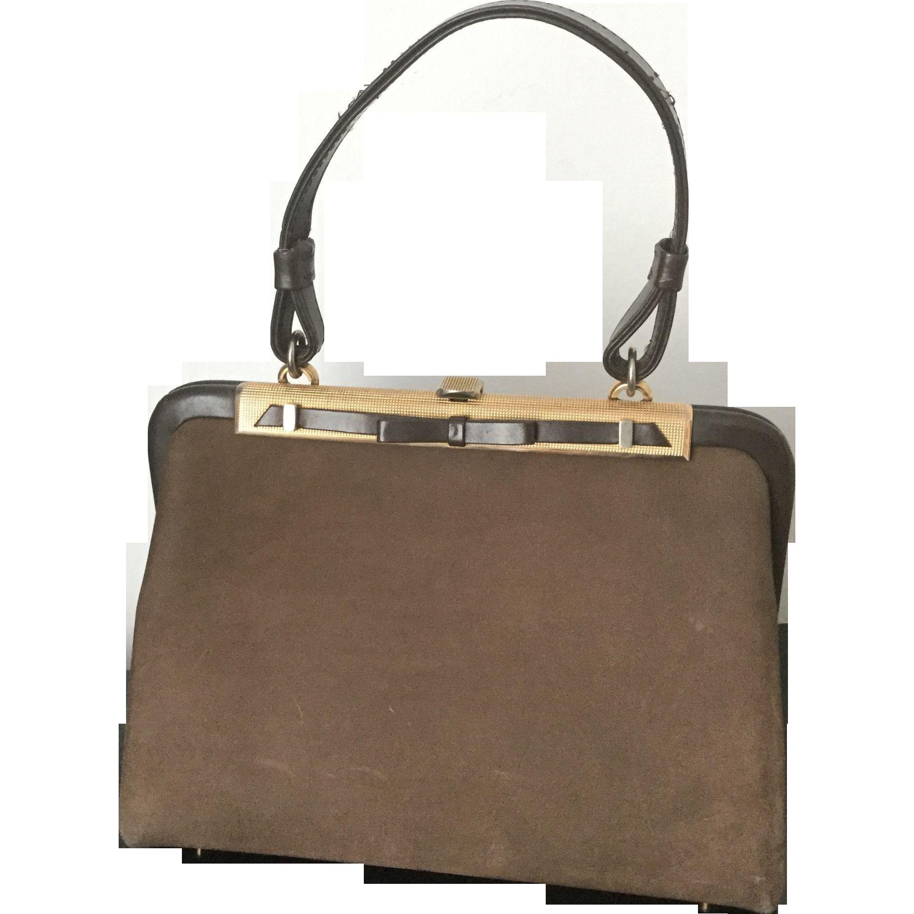 Rare Haute Couture LOEWE Paris Vintage Brown Nubuck Luxury Handbag 1950 circa