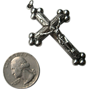 Antique French Victorian Sterling Silver Cross 19th century