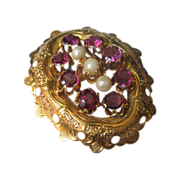 Antique French Victorian 18K Gold Brooch with Amethysts and Natural Pearls mid 19th C