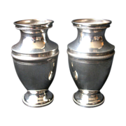 Late 19th Century German 800 Fine Solid Silver 2 Vases