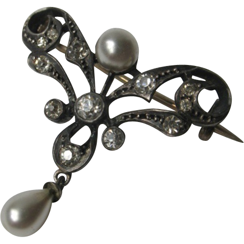 French Art Nouveau Silver 800 Brooch with Faux pearls and Rhinestones 1900 era
