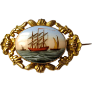 Antique French Victorian brooch 19thC Hand painted porcelain Limoges Sailing ship