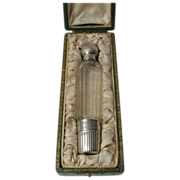 Antique French Sterling Silver & Cut Glass Liquor 'Spirits' Flask, Bottle, Minerva Hallmark