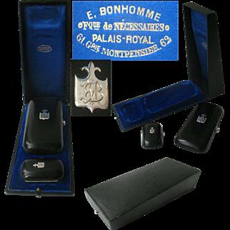 Superb Antique French Cigars & Matches Cases, Necessaire in Original Presentation Case Palais Royal Paris Victorian mid 19th C era