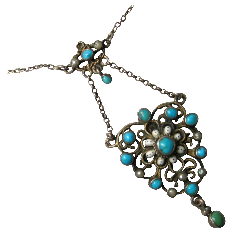 French Antique Silver 800 Necklace with Pendant enamel with Turquoises Victorian 19th C era