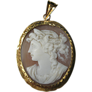 Antique Shell Carved Cameo 18K French Yellow Gold Pendant Victorian Jewelry