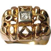 Retro French Diamond 18K Yellow Gold Ring Art Deco 1920 era