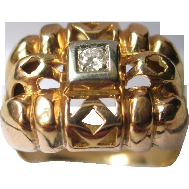 Retro French Diamond 18K Yellow Gold Ring Art Deco 1920 era