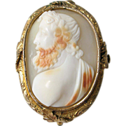 Antique Shell Carved Cameo French Gold Plated Brooch Victorian Jewelry mid 19th Century