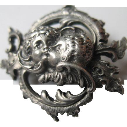 Art Nouveau Jugendstil G.A.S. Georg Anton Scheid Viennese Silver brooch Secessionist 1900