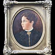 Antique 1860s Oil Portrait in Gilt Frame