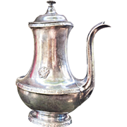 1919 Silver Plated Side Handle Coffee or Chocolate Pot from The Hotel Astor NYC