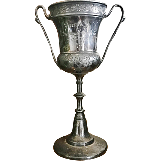 Antique Victorian Era Silver Plated Bicycle Trophy