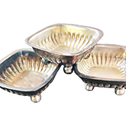 Set of 4 Antique Tiffany and Co Silver Plate Salt Cellars