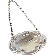 Vintage Tiffany & Co Sterling Liquor Decanter Tag - Rum