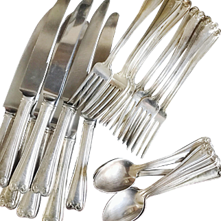 Service for 8 of Antique Silver Plated Flatware from The Chicago Athletic Association