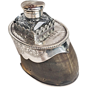 Antique English Silver Plate Horse Hoof Ink Well - Engraved Toby 1884-1910
