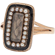 Victorian 9 Karat Gold Mourning Ring with Pearls and Enamel