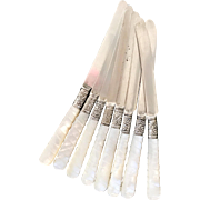 Set of 8 Antique Silver Knives with Carved Mother of Pearl and Sterling Handles