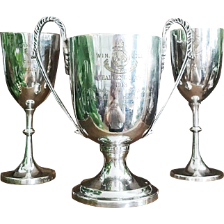 Set of 3 Antique 1911-1913 English College Rowing Trophies