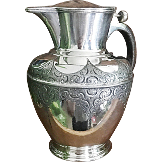 Antique 1892 English Hurdles Trophy Pitcher with Push-button Lid