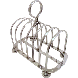 Antique 1911 Silver Plated English Toast Rack from Shire Line Oceanliner