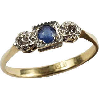 Antique English Diamond & Sapphire Ring in 18k Gold and Platinum