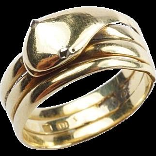 Antique Victorian Era English 18k Gold Snake Ring with Diamond Eyes