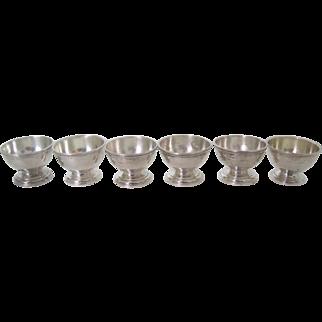 Set of 6 Tiffany & Co Sterling Silver Salt Cellars
