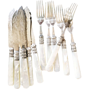 Antique Silver Fish Knives and Forks with Mother of Pearl and Sterling Handles - Service for 6